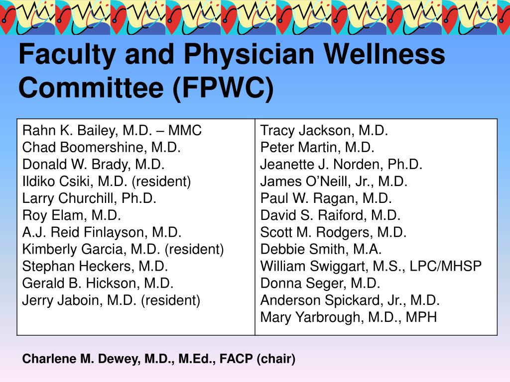 Faculty and Physician Wellness Committee (FPWC)