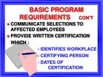 basic program requirements con t