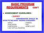 basic program requirements con t9