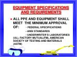 equipment specifications and requirements