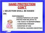 hand protection con t