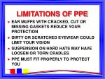 limitations of ppe