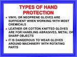 types of hand protection