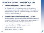 slovenski primer omejujo ega dm