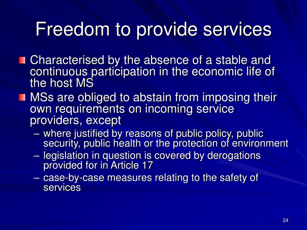 Freedom to provide services