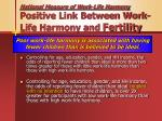national measure of work life harmony positive link between work life harmony and fertility