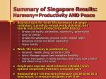 summary of singapore results harmony productivity and peace
