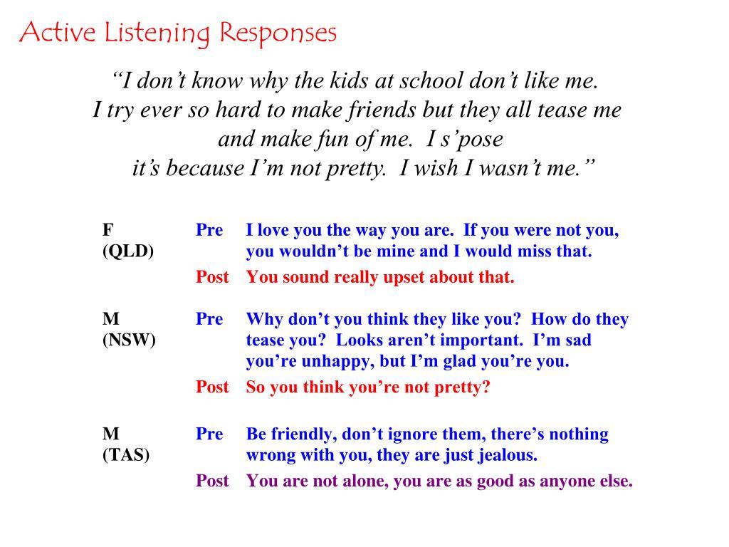Active Listening Responses
