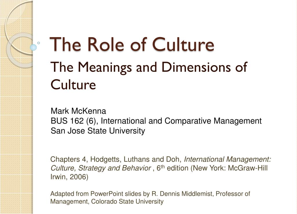 the role of culture l.