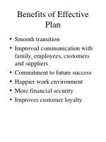 benefits of effective plan