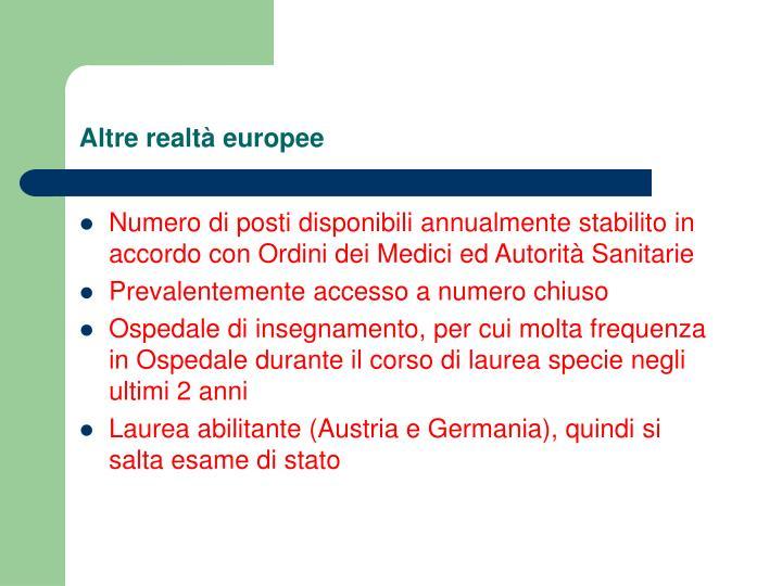 Altre realt europee