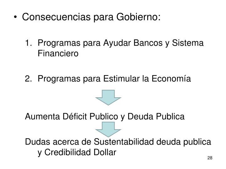 Consecuencias para Gobierno: