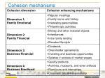cohesion mechanisms