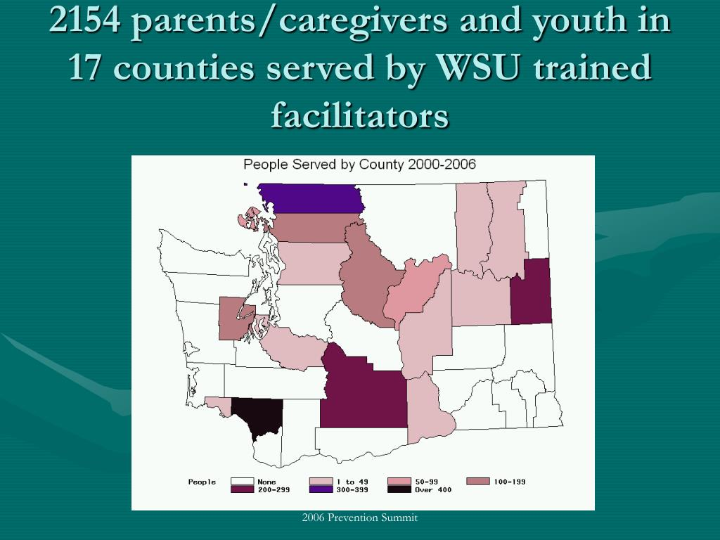 2154 parents/caregivers and youth in 17 counties served by WSU trained facilitators