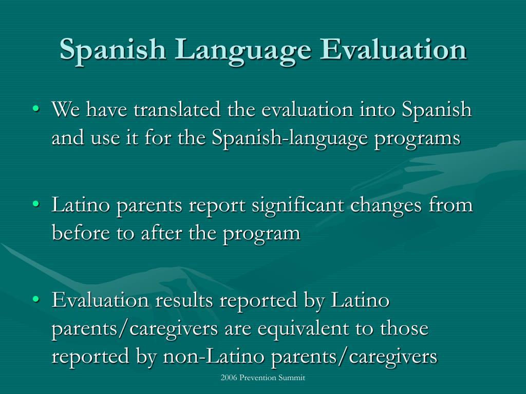 Spanish Language Evaluation