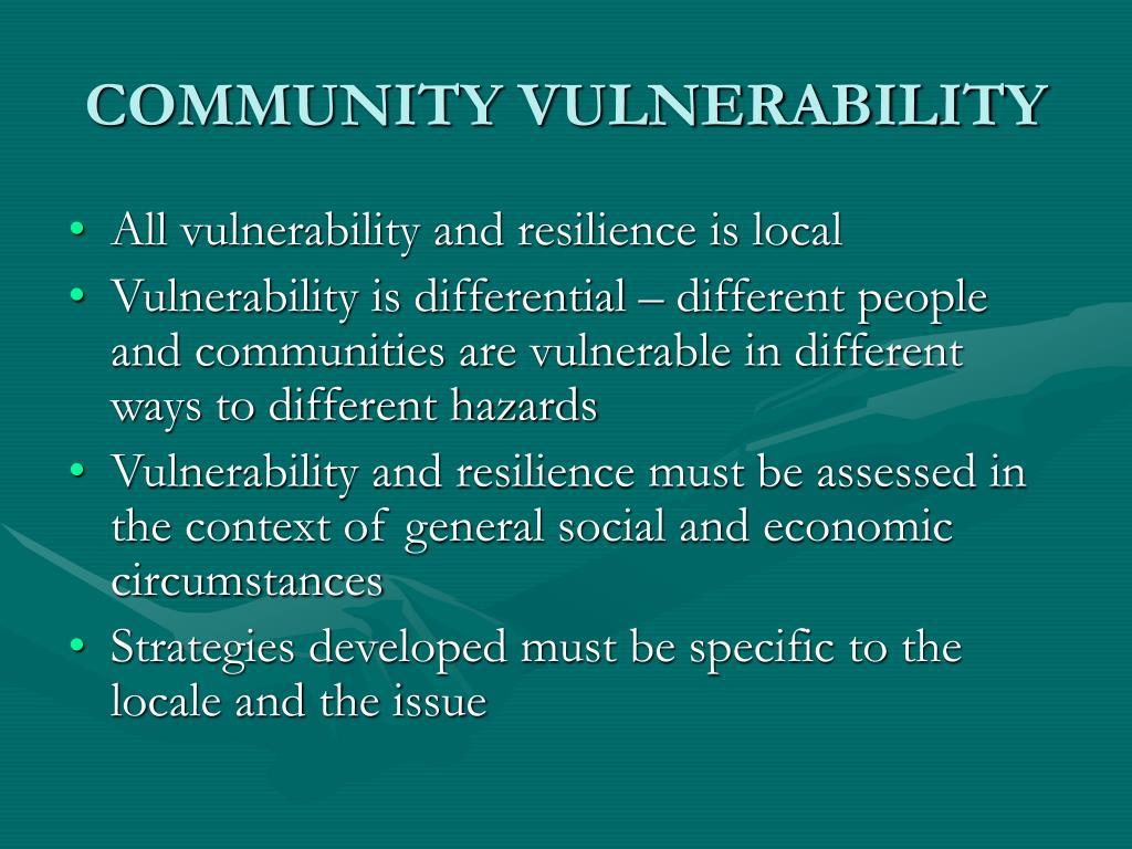 COMMUNITY VULNERABILITY