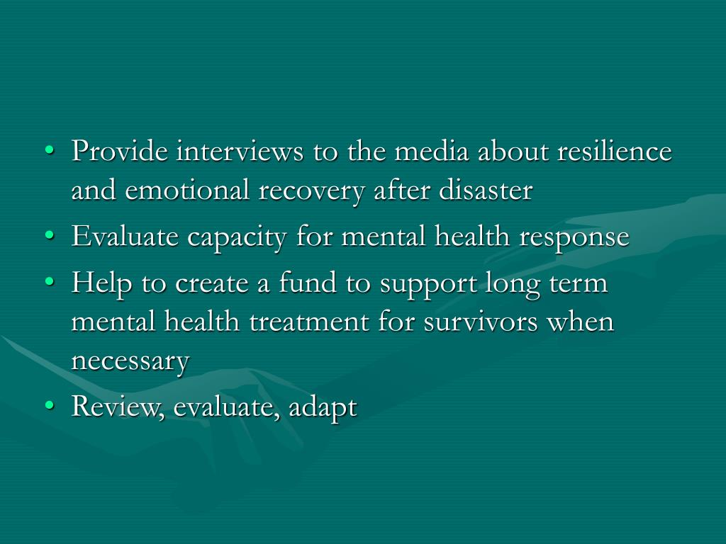 Provide interviews to the media about resilience and emotional recovery after disaster