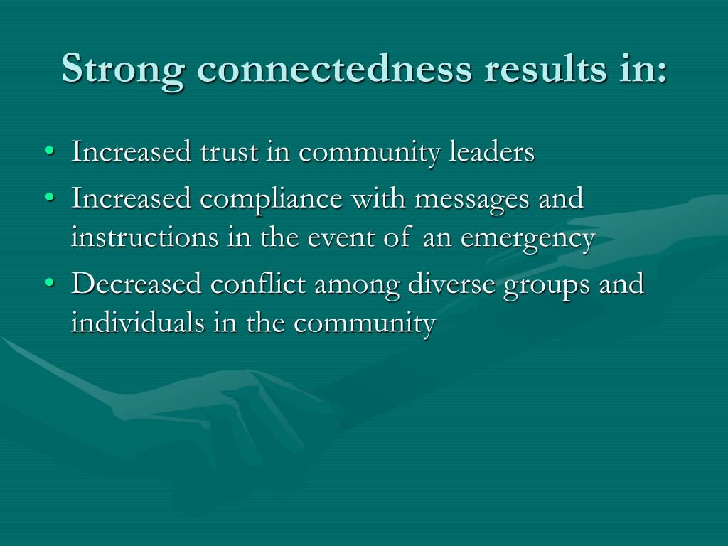 Strong connectedness results in: