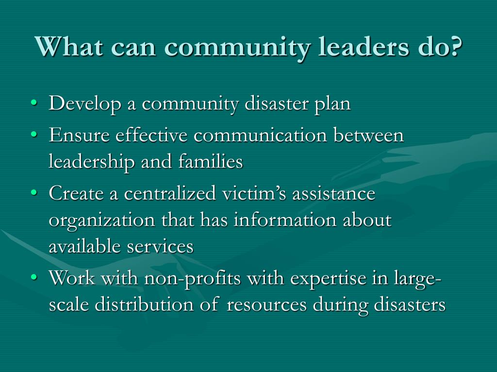 What can community leaders do?