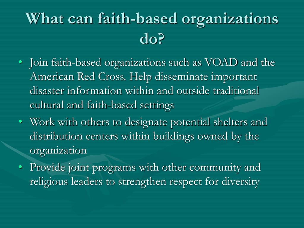 What can faith-based organizations do?