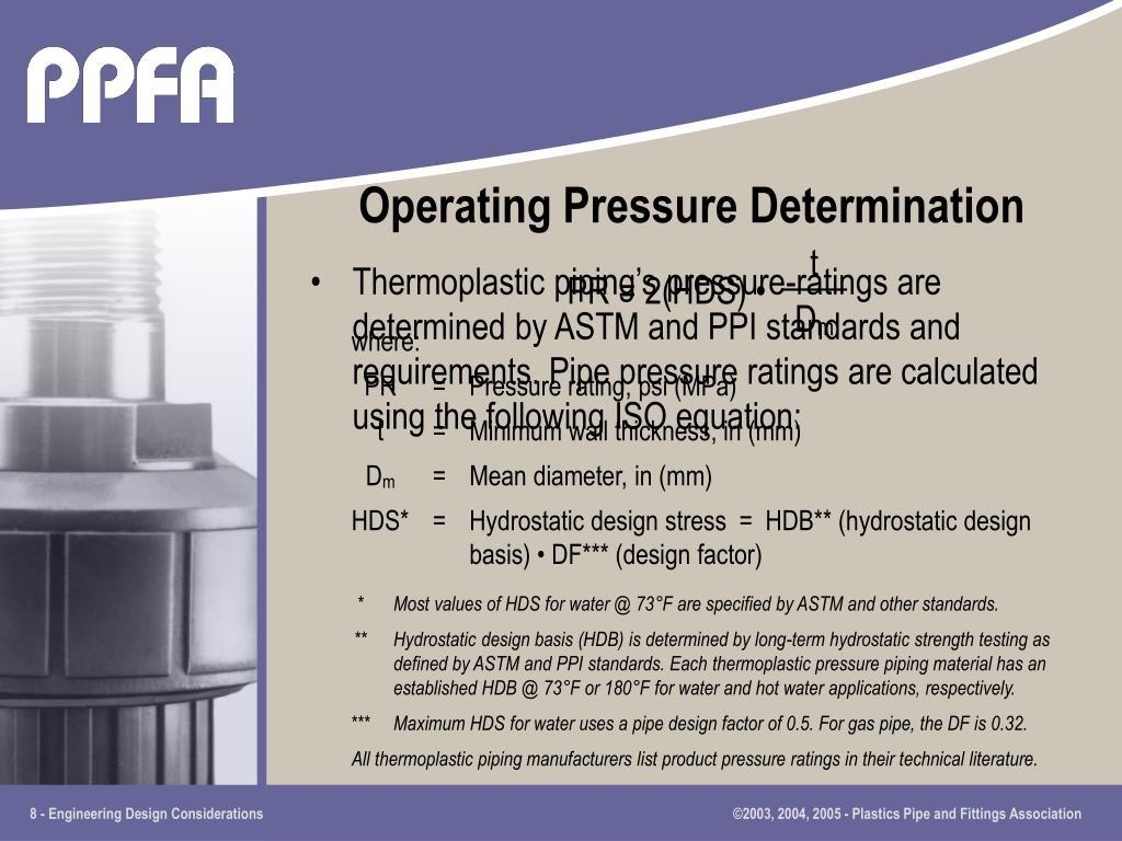 Operating Pressure Determination