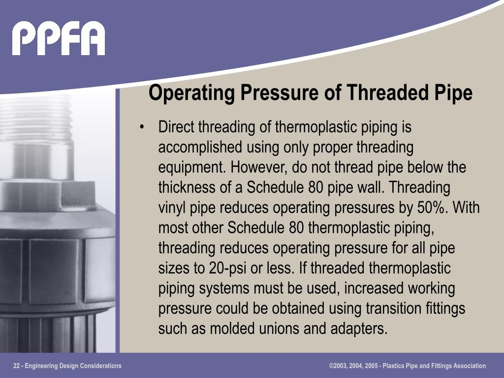 Operating Pressure of Threaded Pipe