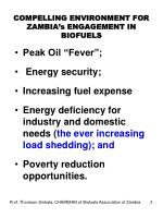 compelling environment for zambia s engagement in biofuels