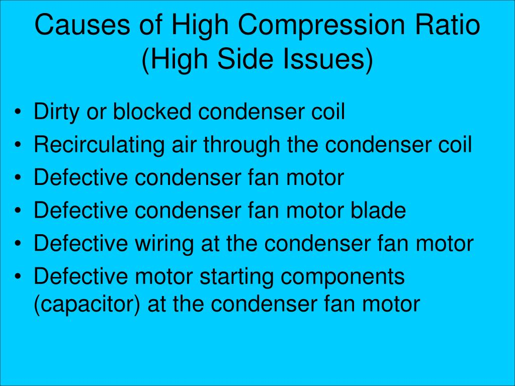 Causes of High Compression Ratio (High Side Issues)