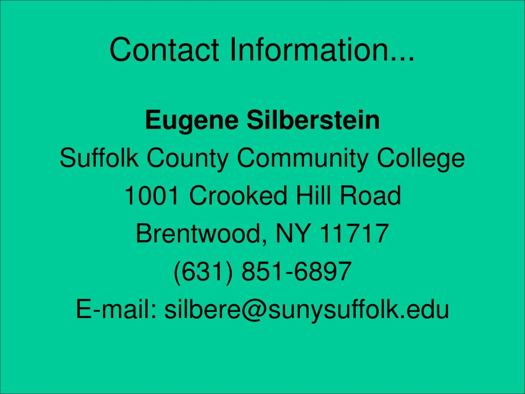 Contact Information...