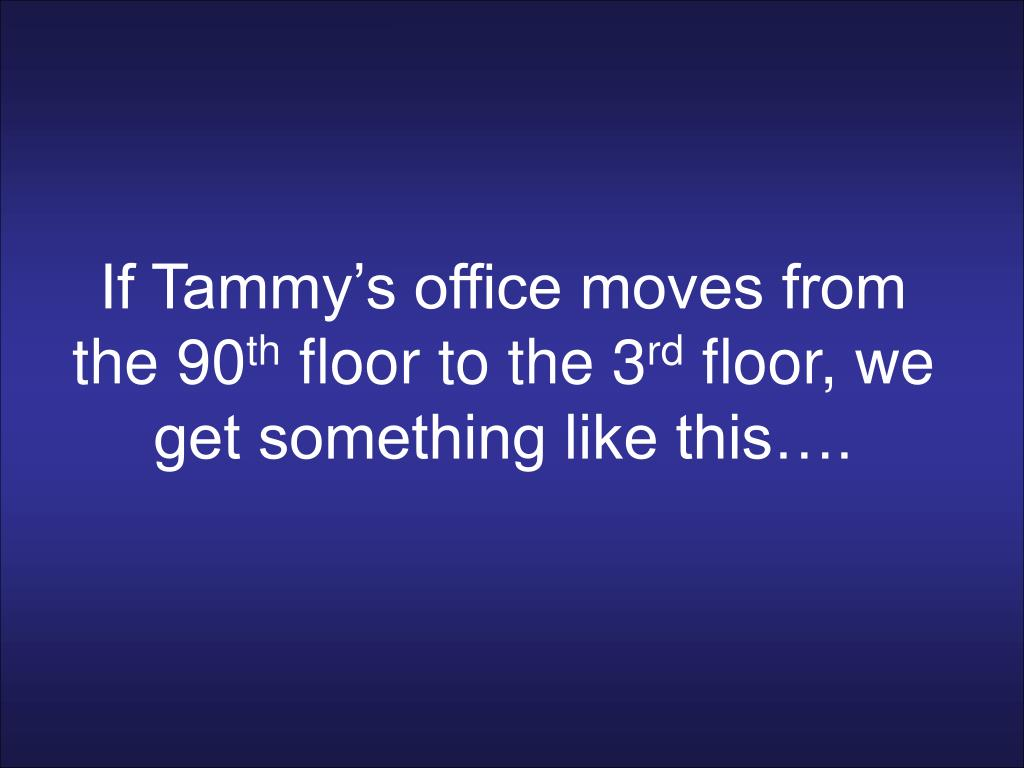 If Tammy's office moves from the 90