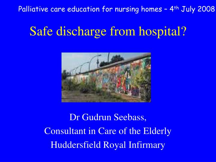 safe discharge from hospital n.