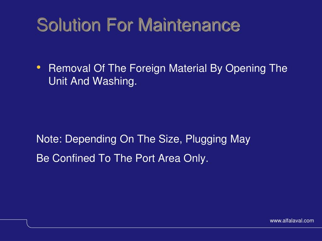 Solution For Maintenance
