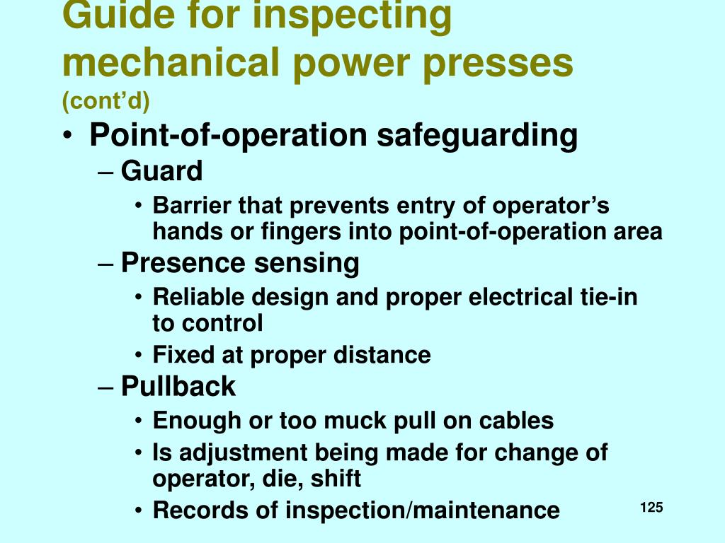 Guide for inspecting mechanical power presses