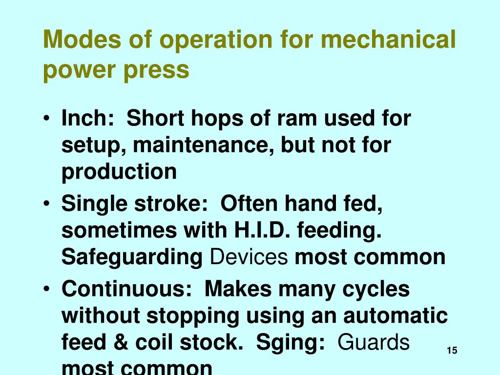 Modes of operation for mechanical power press