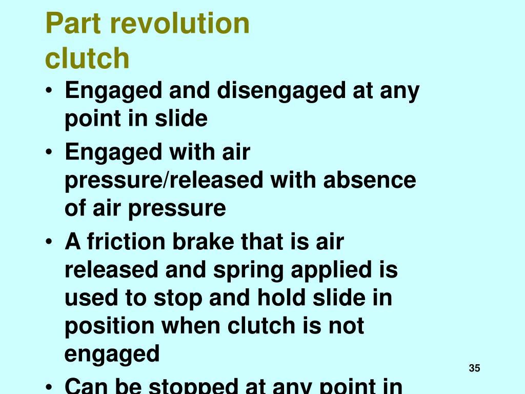 Part revolution clutch