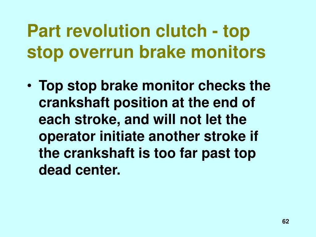 Part revolution clutch - top stop overrun brake monitors