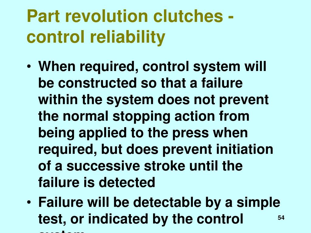 Part revolution clutches - control reliability