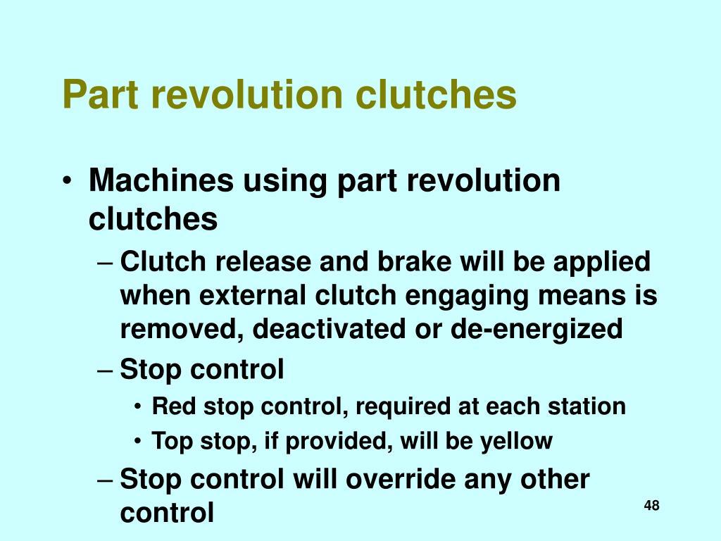 Part revolution clutches