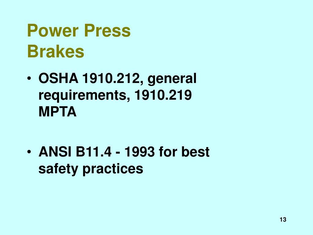 Power Press Brakes