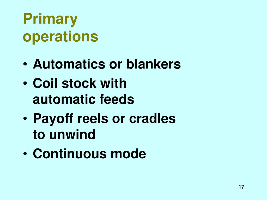Primary operations