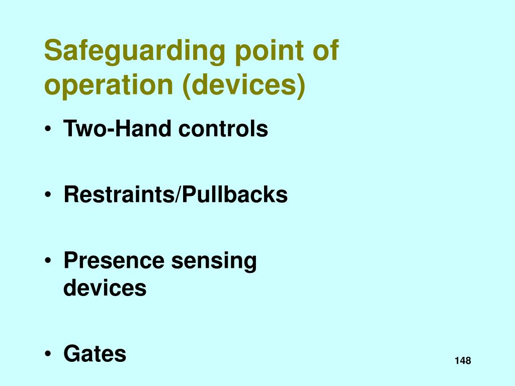 Safeguarding point of operation (devices)