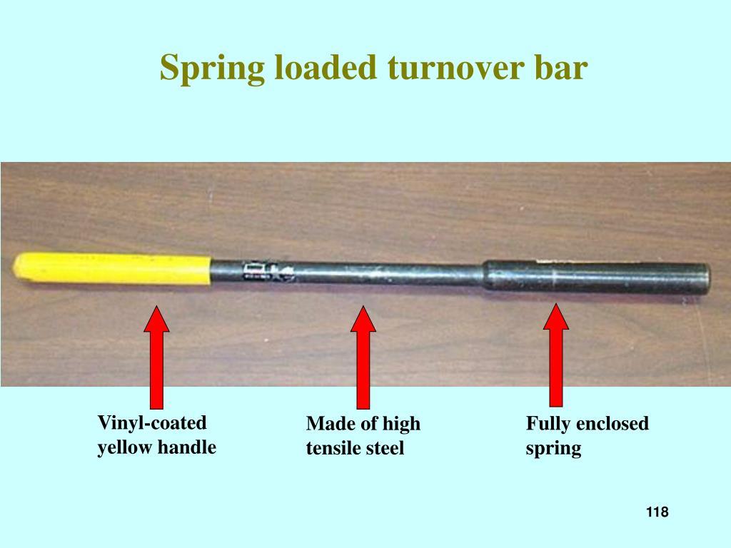 Spring loaded turnover bar