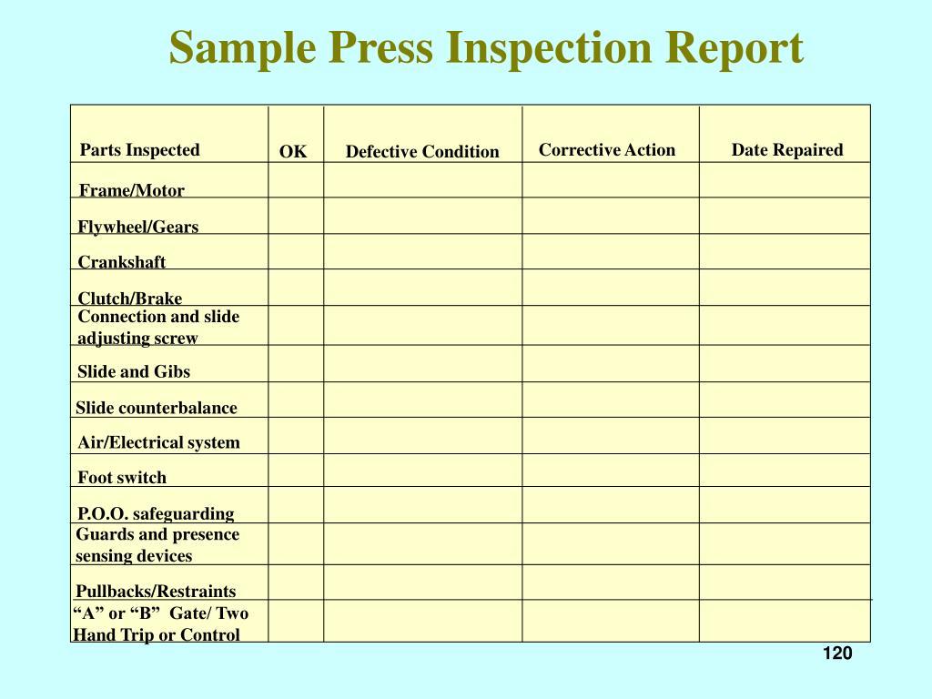 Sample Press Inspection Report