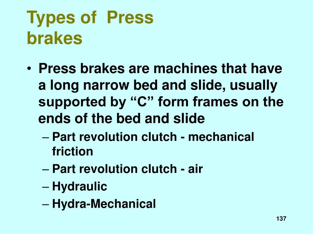 Types of  Press brakes