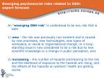 emerging psychosocial risks related to osh expert forecast