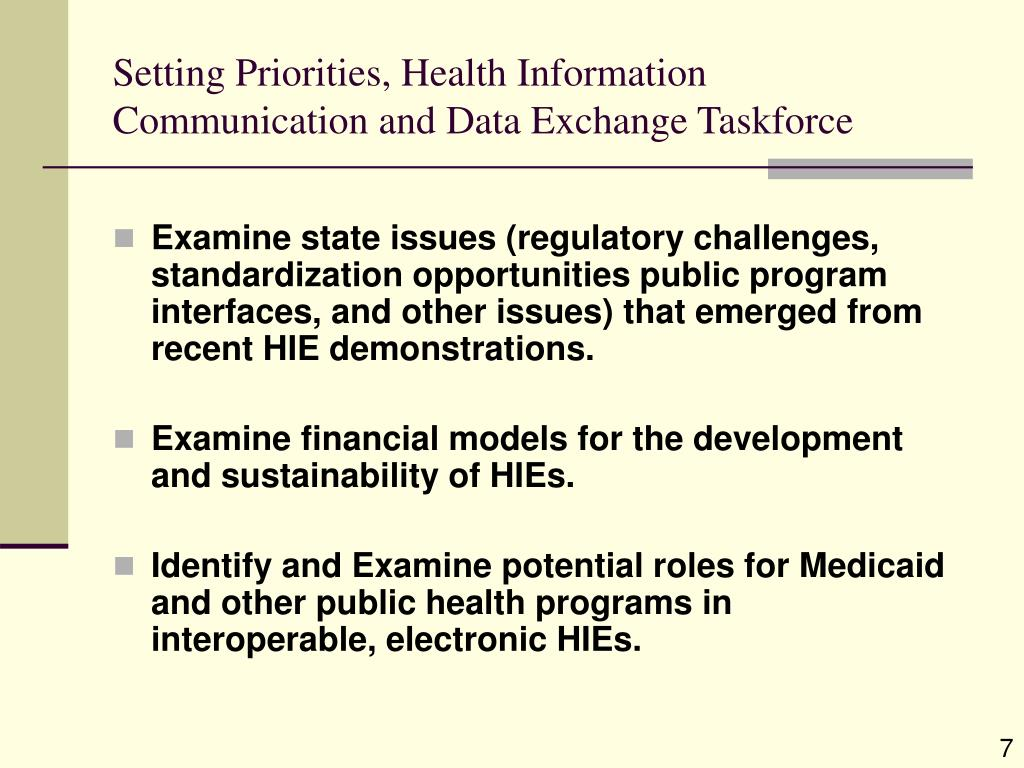 Setting Priorities, Health Information Communication and Data Exchange Taskforce