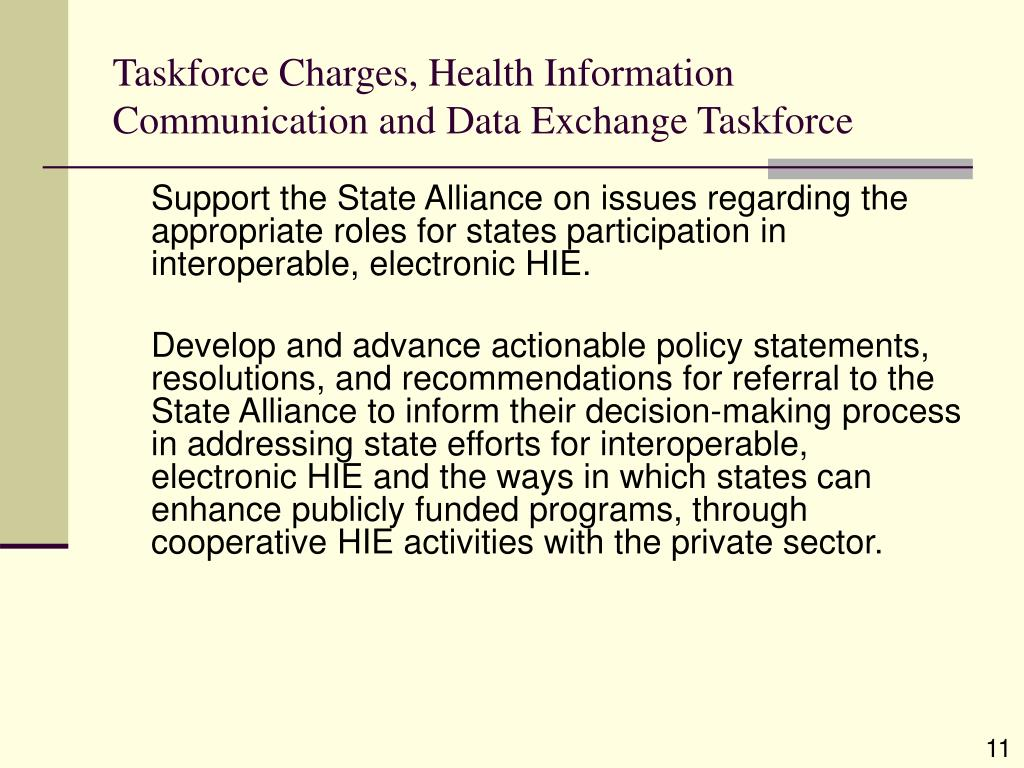 Taskforce Charges, Health Information Communication and Data Exchange Taskforce