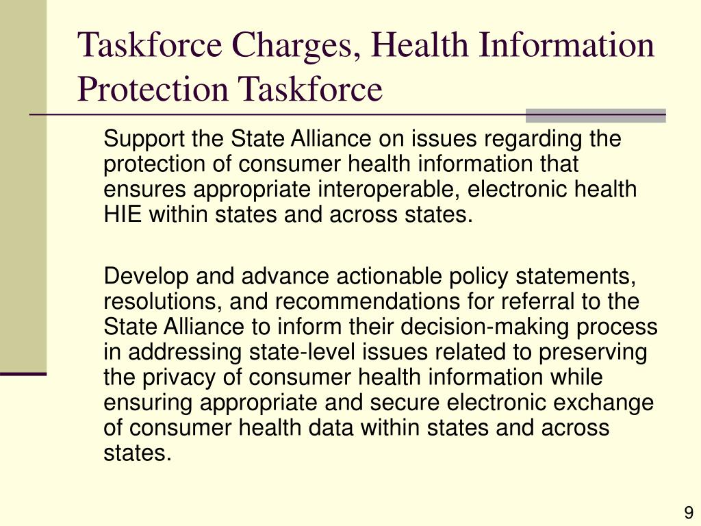 Taskforce Charges, Health Information Protection Taskforce