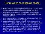 conclusions on research needs