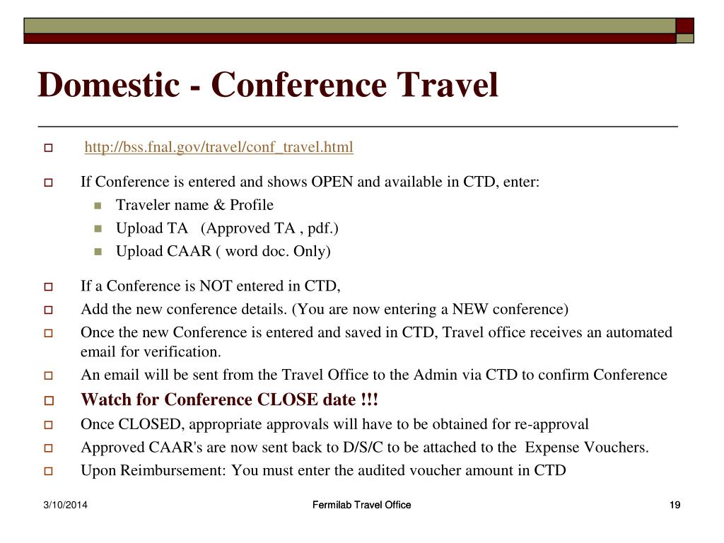 Domestic - Conference Travel